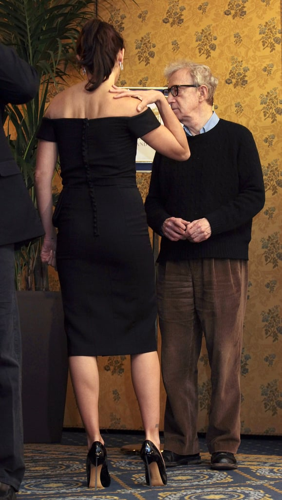 Penelope Cruz and Woody Allen took a moment to talk while at a press conference in Rome.