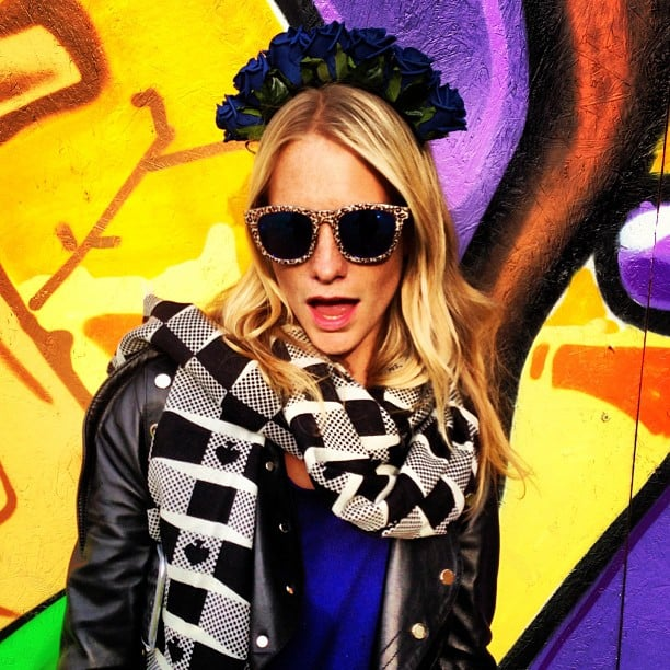 Poppy Delevingne looked colourful and rocker-cool while hanging out at Glastonbury. Source: Instagram user poppydelevingne