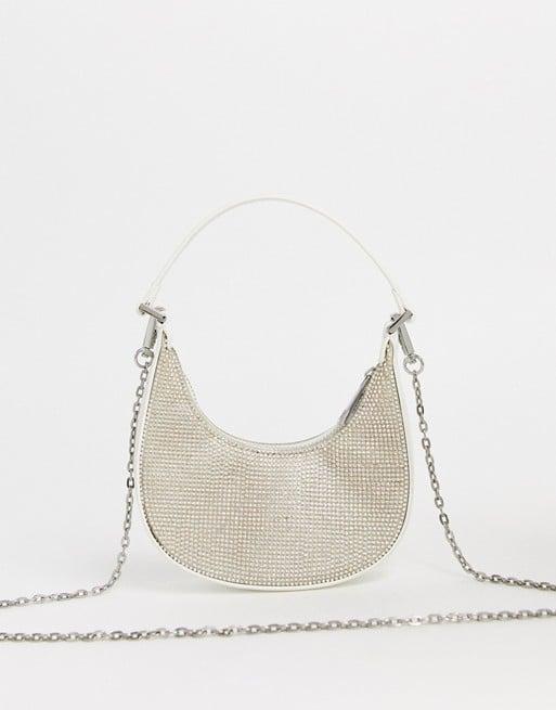 Estee & Lilly Crystal Mesh Zip Top Ring Crossbody Bag