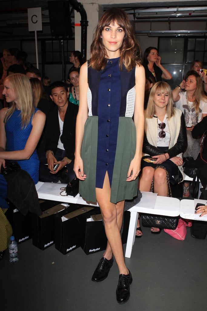 Alexa Chung opted for a colour-blocked look at House of Holland.