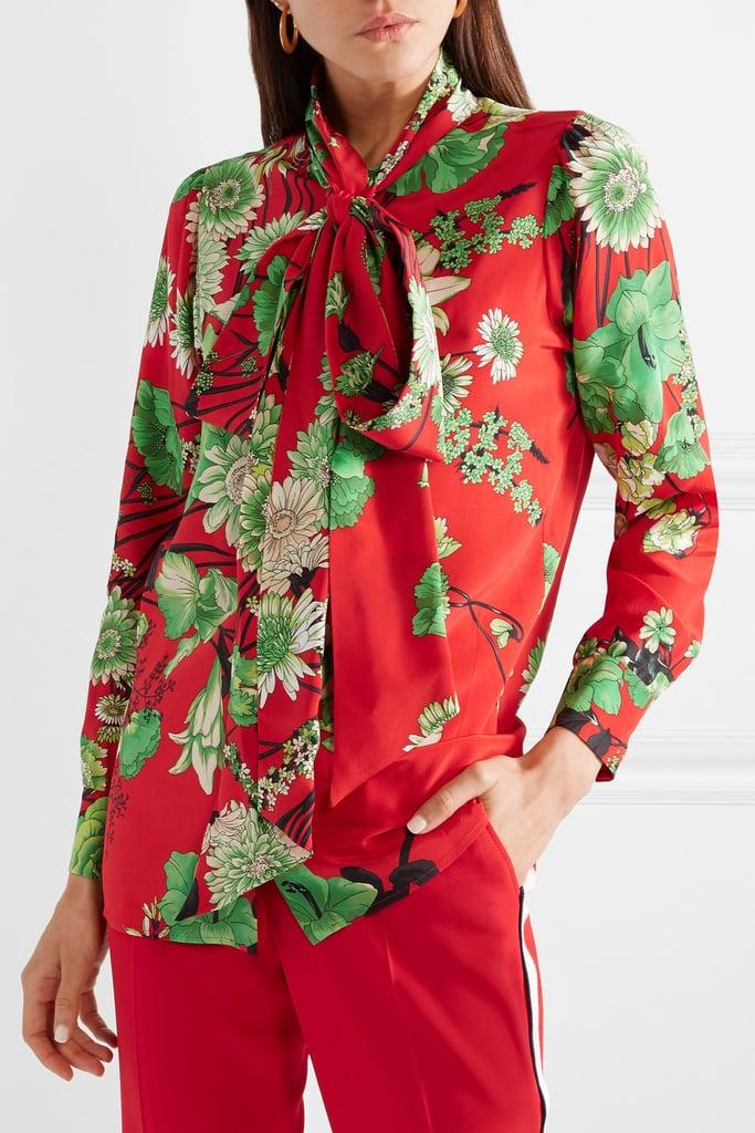 3c367cfcb1e359 JLo's Exact Gucci Floral-Print Pussy Bow Silk-Satin Blouse ...