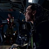 Chris Evans as Captain America, Robert Downey Jr. as Iron Man, and Tom Hiddleston as Loki in The Avengers.  Photo courtesy of Disney