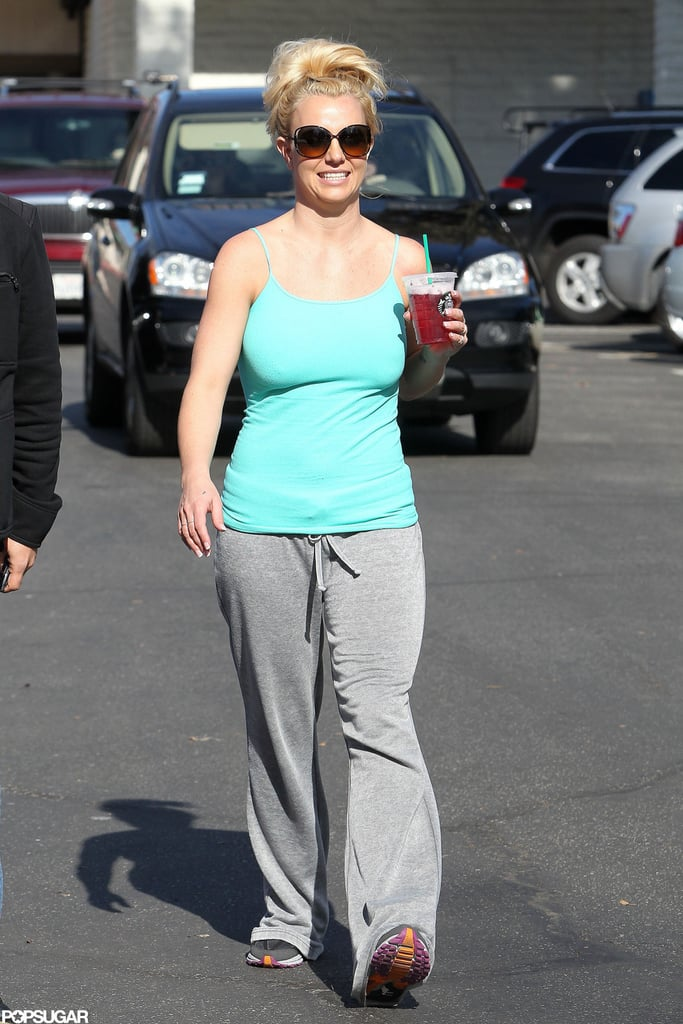 "Britney Spears worked up a sweat at a dance studio in LA yesterday, then cooled down with an iced tea from Starbucks. Her next stop was a nail salon in Calabasas, where she rewarded her workout with a manicure. Britney will be showing off her dance moves soon, since she tweeted she was working on the ""Scream & Shout"" remix video with Diddy, Will.i.am, and Lil Wayne on Friday. She also took to Twitter to send her love to the victims of the fire that occurred in Santa Maria, Brazil, Sunday night. Britney tweeted, ""My heart is with you Santa Maria. Sending lots of love and & prayers.""   On Sunday, Britney attended church, but she is still in talks about making a move to Sin City. The former X Factor judge, who announced her departure from the Fox singing competition earlier this month, could be moving forward on the $100 million headlining gig she was offered at Caesar's Palace in Las Vegas."