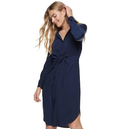 Nine West Knot-Front Shirt Dress