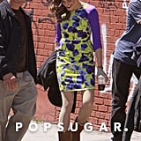 Allison Williams wore a printed dress on the set.