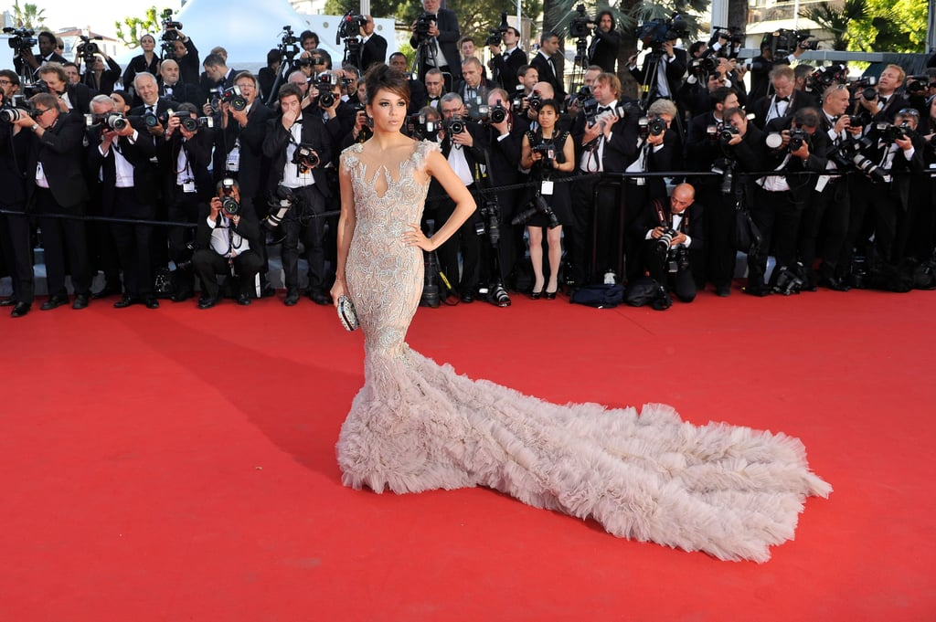 Eva Longoria's gown had a long train at the opening of the Cannes Film Festival and the premiere of Moonrise Kingdom.