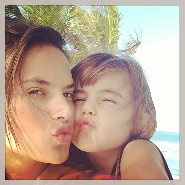 Alessandra Ambrosio and her daughter, Anja Mazur, posed with kissy faces for the camera. Source: Instagram user alessandraambrosio