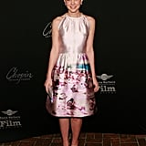 Carey had us dreaming of lazy beach days with a watercolor photo-print Prada confection at the Virtuoso Awards in Santa Barbara. The actress topped her unique fit-n-flare with a coordinating Prada clutch and swirly metallic sandals.