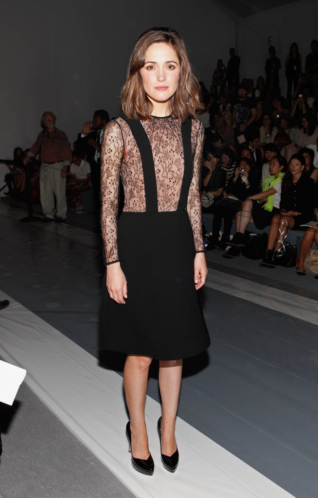 Rose Byrne started off the glamour early at Jill Stuart's morning runway show in New York — a lace-infused black dress with black pumps did the trick.