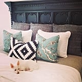 The finds: large, gray pillows that are perfect for decorative layering.