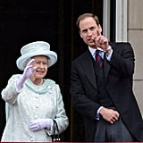 Prince William and the queen are often seen chatting on the balcony of Buckingham Palace.