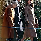 In Jan., the royal family attended Sunday service at St Mary Magdalene Church. Kate bundled up in a tweed coat by Moloh and wore a pair of fringed heels from Tod's.