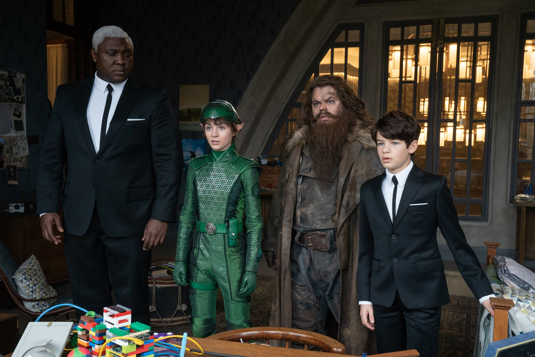 Nonso Anozie is Butler, Lara McDonnell is Holly Short, Josh Gad is Mulch Diggums and Ferdia Shaw is Artemis Fowl in Disney's ARTEMIS FOWL, directed by Kenneth Branagh. Photo by Nicola Dove. © 2020 Disney Enterprises, Inc. All Rights Reserved.