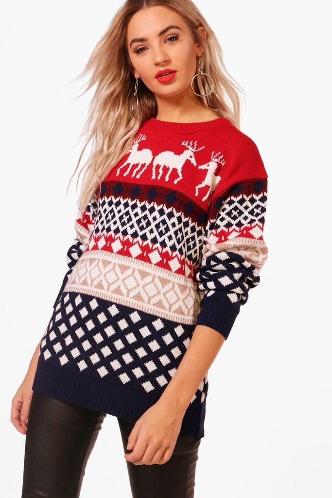 Boohoo Jasmine Reindeers Christmas Jumper