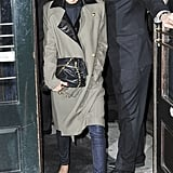 Victoria Beckham exited an NYC restaurant looking posh in a leather-collar coat, skinny jeans, her Proenza Schouler cap-toe pumps, and a Victoria Beckham chain-handle bag.