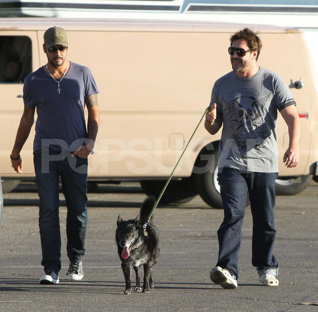 Javier Bardem and Penelope Cruz's brother, Eduardo, were spotted out walking a dog around Venice yesterday. Javier and Penelope are awaiting the arrival of their first child — do you think they'll have a boy or a girl? — in California, and they celebrated with a star-studded baby shower over the weekend. Javier also just received the exciting news that he received a BAFTA nomination for his work as a leading actor in Biutiful, though he might have to skip the show to handle his new dad duties. Penelope's brother, meanwhile, apparently has more than just his soon-to-be uncle status on his mind, as he's reportedly dating Eva Longoria.