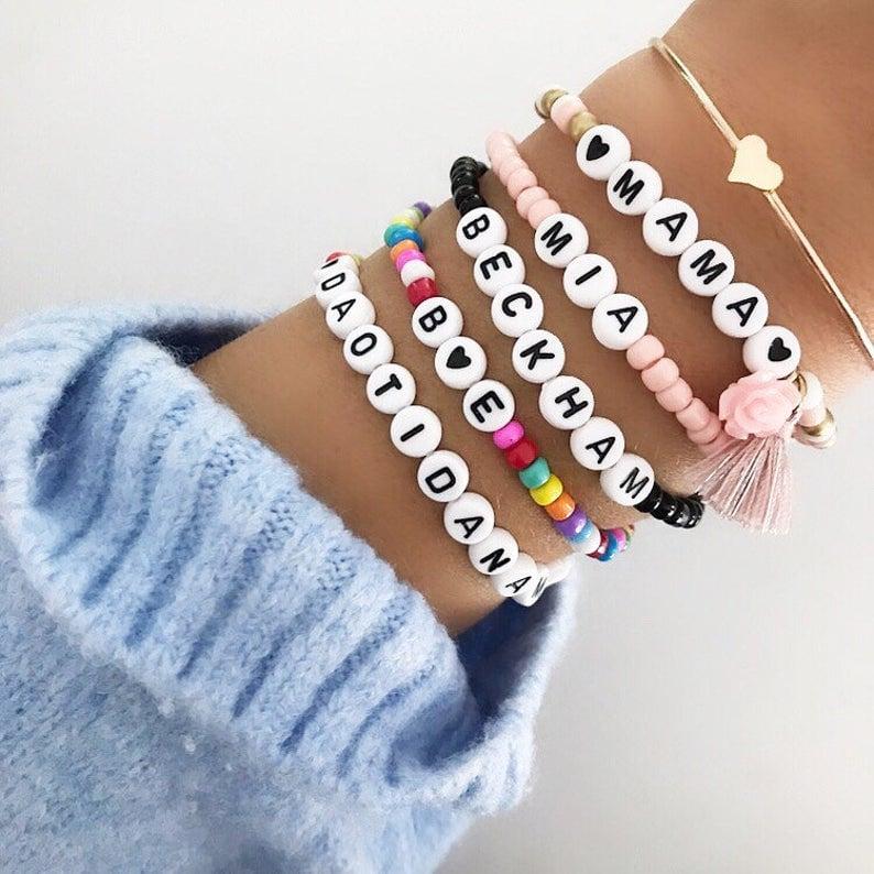 Personalized Custom Beaded Name Bracelets