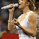 LeAnn Rimes Struts Out in Lace For Championship National Anthem