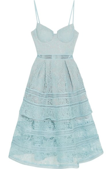 Or, try this sky-blue Self-Portrait Tiered Paneled Guipure Lace Dress ($475).