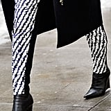 With printed pants, sometimes a pair of staple black booties hits just the right styling note.