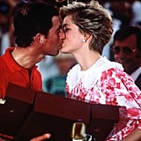 The couple kissed following a polo match in Oman in 1986.