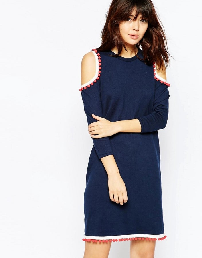 ASOS Swing Dress in Knit With Cold Shoulder and Pom Pom Detail ($57)
