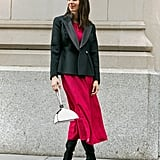 Affordable & Festive Outfit Formula: Midi Dress + Blazer + Boots + Bag + Jewelry
