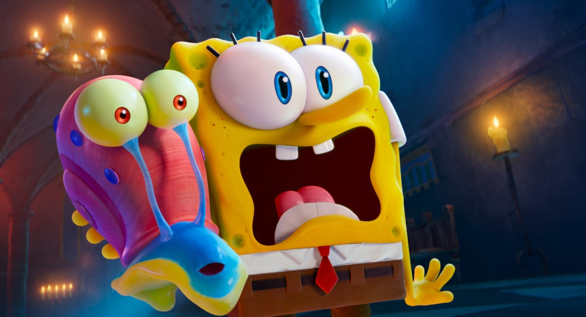 Gary and SpongeBob (voiced by Tom Kenny) appearing in the Paramount+ original film THE SPONGEBOB MOVIE: SPONGE ON THE RUN. Photo Credit: Paramount Animation ©2021 CBS Interactive, Inc. All Rights Reserved.