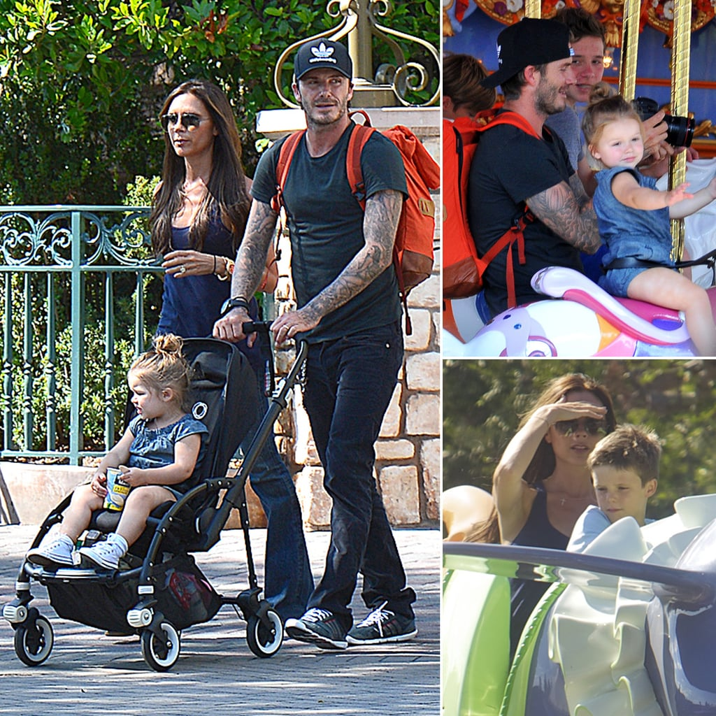 Victoria Beckham and David Beckham at Disneyland