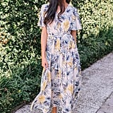Gal Meets Glam Collection Kiki Leaf Print Chiffon Maxi Dress
