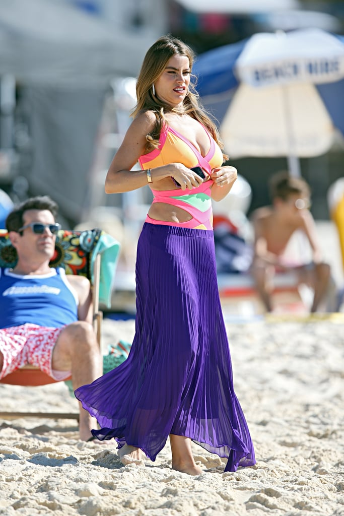 Sofia Vergara wore a bright swimsuit at Bondi Beach on Feb. 21.