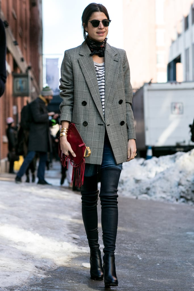 Leandra Medine did menswear with a perfect double-breasted, checked blazer.