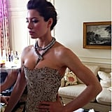 Jessica Biel shared a behind-the-scenes snap of her Marchesa gown while getting ready for the Inside Llewyn Davis premiere. Source: Jessica Biel on WhoSay