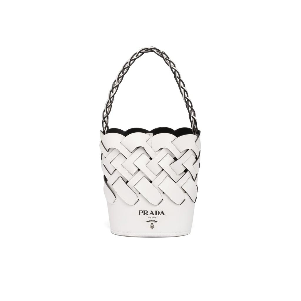Prada Bucket Bag With Large Woven Motif