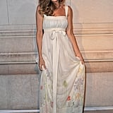 Sarah Jessica Parker in a white gown to celebrate the opening of Marc Jacob's Louis Vuitton Exhibit in Paris.