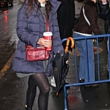 Katie Holmes braved the snow in NYC to get to her show.