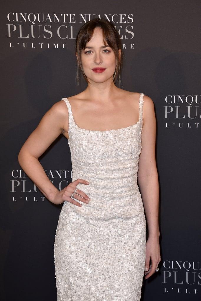 Dakota Johnson's White Dress at Fifty Shades Freed Premiere
