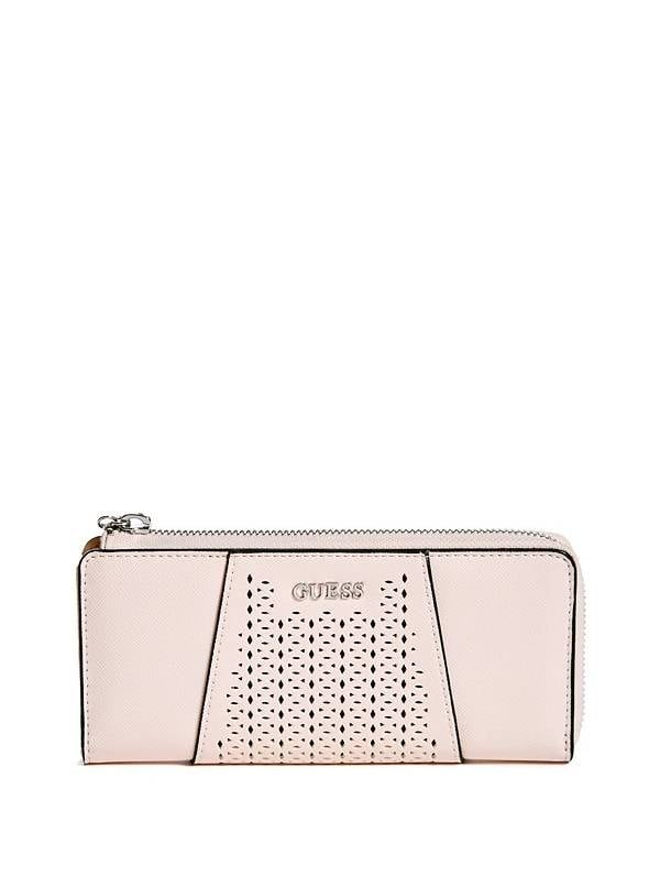 This laser-cut wallet is millennial pink — your mom will be so viral.  Guess Gia Slim Wallet ($42)