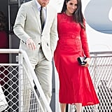Meghan Wearing a red Self Portrait Dress