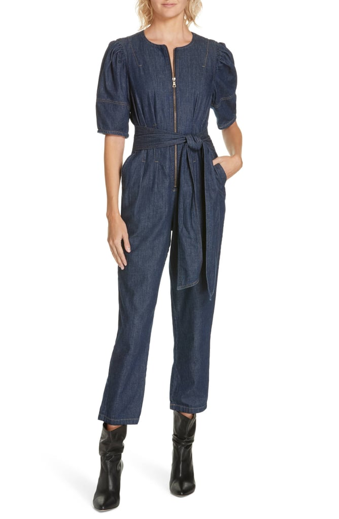 La Vie Rebecca Taylor Puff Sleeve Denim Jumpsuit