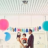 Bring a bit of personality to your ceremony with bright, punchy garland and big, oversize balloons. Photo by Heidi Geldhauser of Our Labor of Love via Green Wedding Shoes