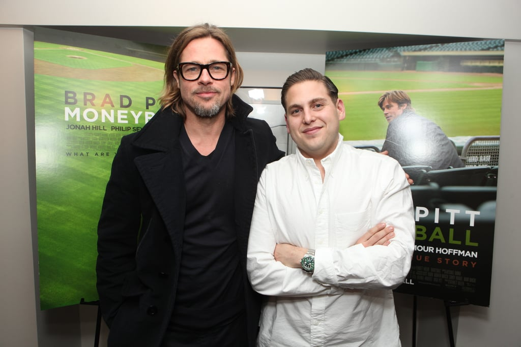 Brad Pitt and Jonah Hill attended a screening of Moneyball in LA.