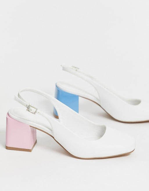 ASOS Design Santiago Mismatch Mid-Heels in White