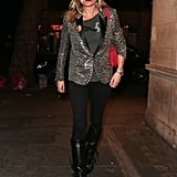 She opted for an animal print blazer and black skinny jeans when she went to see Sienna Miller's performance in Cat on a Hot Tin Roof in London.