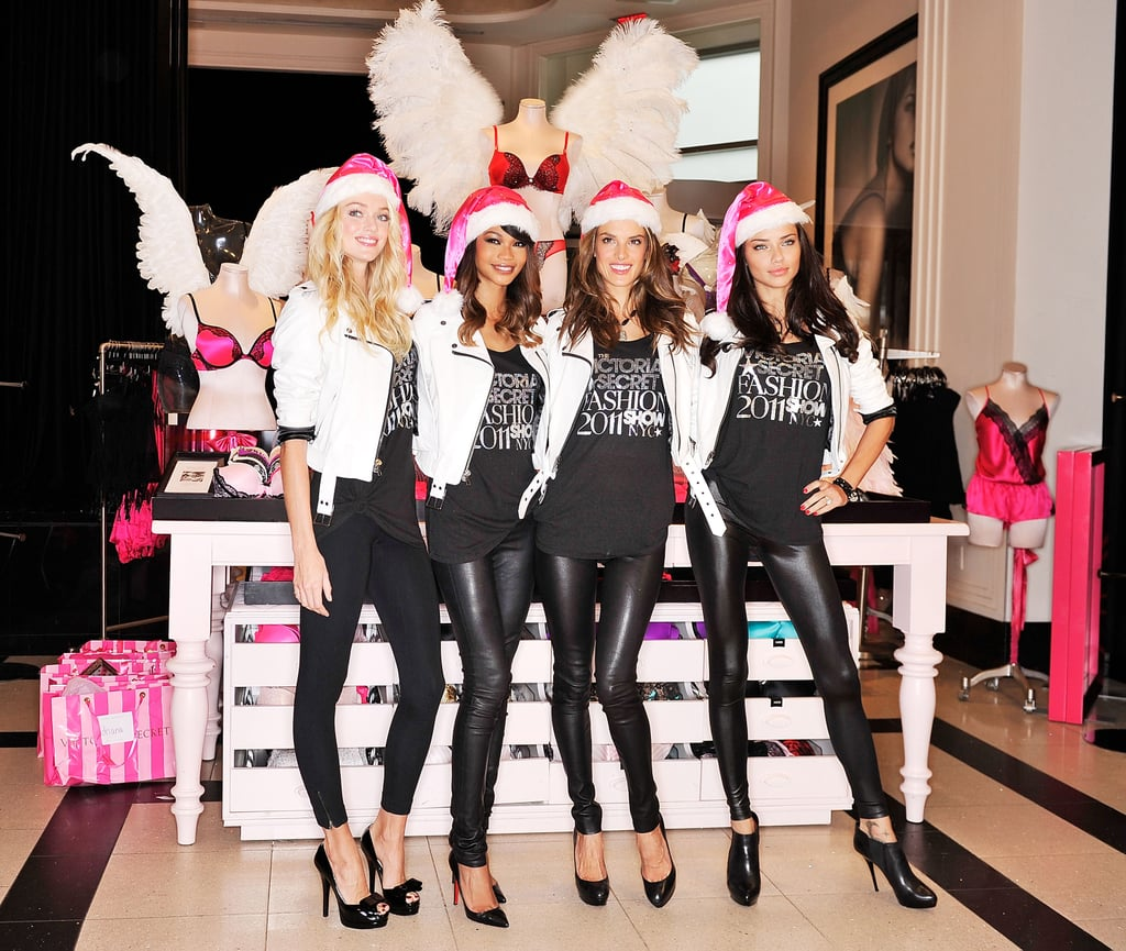 The Victoria's Secret Angels were out in full force for an appearance at a retail store in NYC yesterday. Lindsay Ellingson, Chanel Iman, Alessandra Ambrosio, and Adriana Lima put on their Santa hats and leather leggings to chat about their favorite holiday gift ideas and promote their sexy Victoria's Secret Fashion Show, which airs on Nov. 29. The ladies taped the annual extravaganza earlier this month and shared the runway with performers Kanye West and Nicki Minaj. Adriana is continuing her work with the brand today since she popped up at the company's headquarters in Ohio. Alessandra, meanwhile, switched gears to another popular franchise when she caught a screening of Breaking Dawn Part 1 with her sister after wrapping up her angel duties.