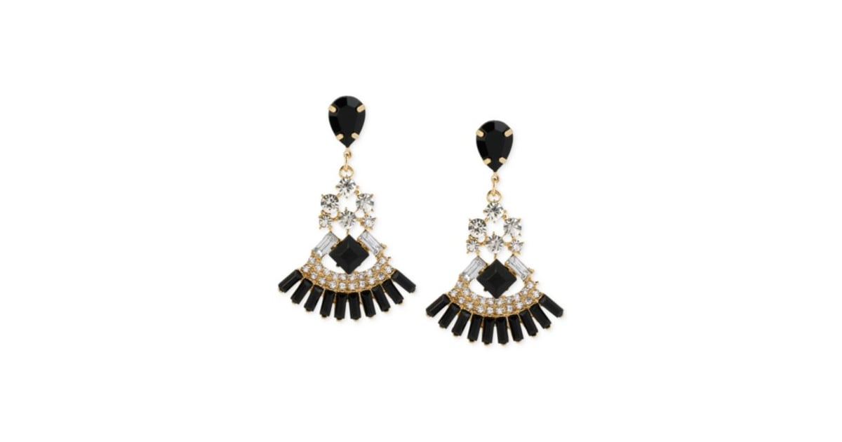 Haskell gold tone mixed black and crystal chandelier earrings 3650 mozeypictures Image collections