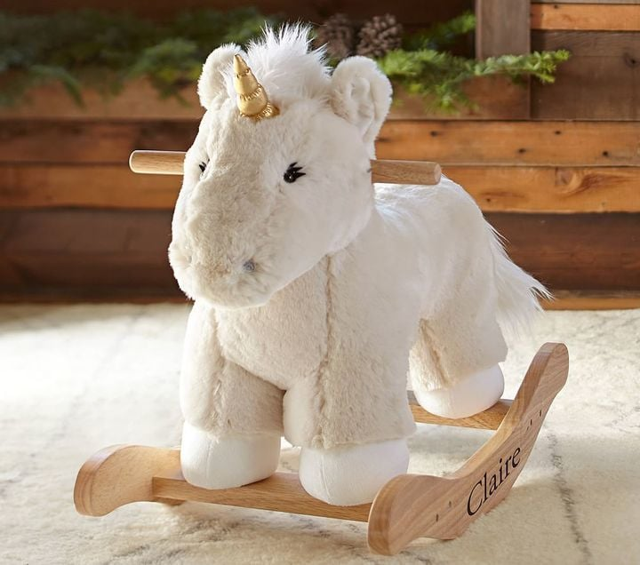 Pottery Barn Kids Unicorn Fur Plush Rocker