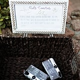 Another creative idea is to provide disposable cameras for each guest. Let them take them home as favors or you can develop the photos for them and return them along with thank-you cards. You can also see all the fun they were having at your wedding and make copies for yourself.