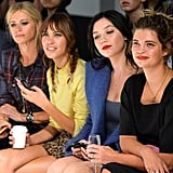 Alexa Chung took in the designs next to Laura Bailey, Daisy Lowe, and Pixie Geldof at the Topshop event on Sunday.