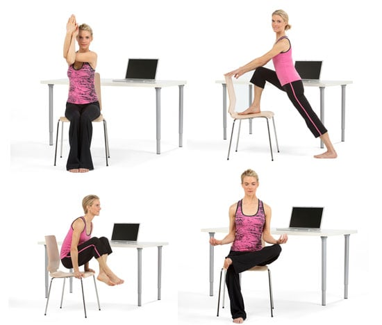 8 Poses For Yoga At Your Desk Popsugar Fitness